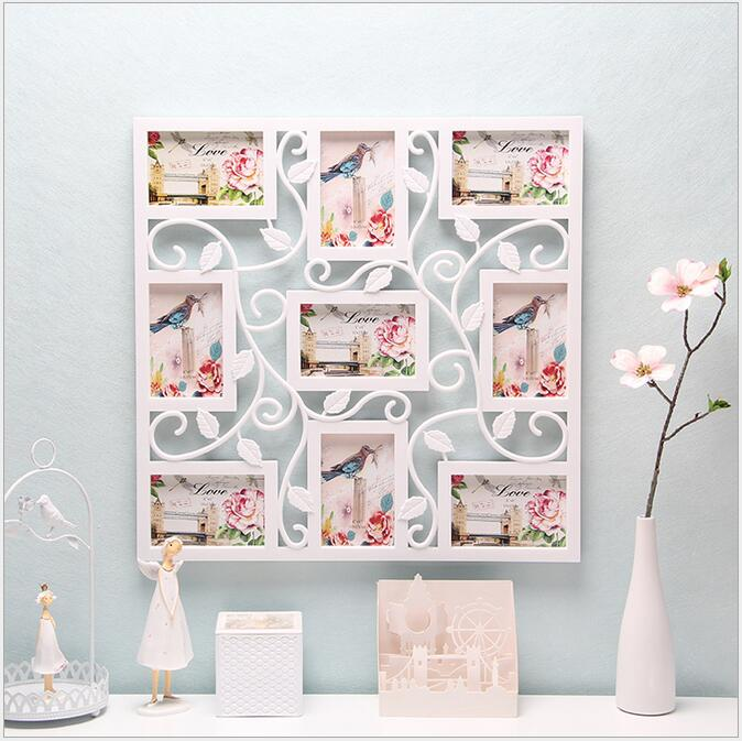 white square plastic flower wall photo frame collage hanging family picture display home decorchina
