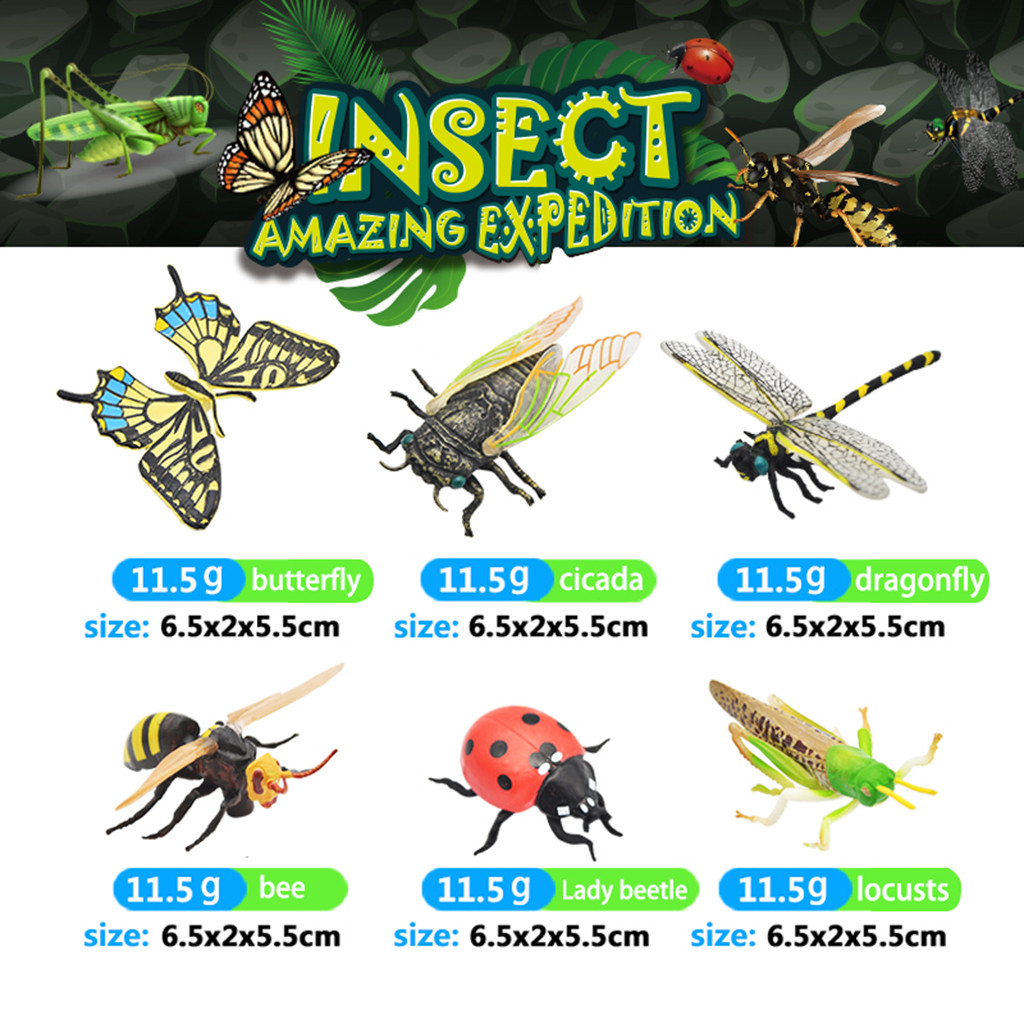 6Pcs Original Genuine Wild Zoo Farm Butterfly Dragonfly Insects Animal Bee Ladybug Series Cicada Model Toys For Kids Gift