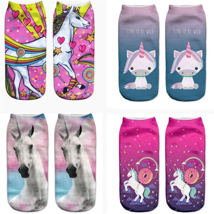 3D Lovely Unicorn Socks 1pair New Unisex Cute Low Cut Ankle Cotton Sock Casual Baby Girl Sock Unicron Decorations Party Supplies