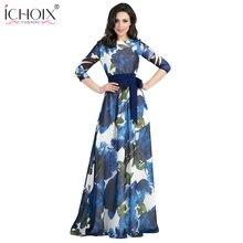 2018 otoño Vestido largo mujer bohemio impresión Floral piso longitud  Vestido estilo mujer elegante azul Maxi Vestido 7ff453a22ee6