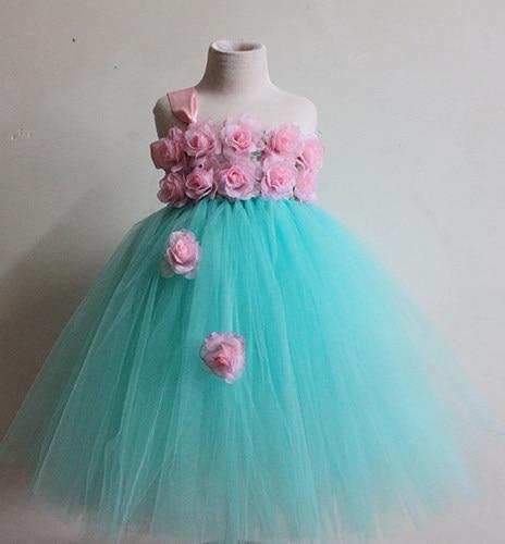 Tienda Online Tutú del partido del bebé vestido verde menta con rosa ...