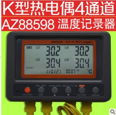 AZ88598 Multi-channel Digital Thermometer 4 Channel K Type Thermocouple Temperature logger SD Card Data Logger thermometer цена