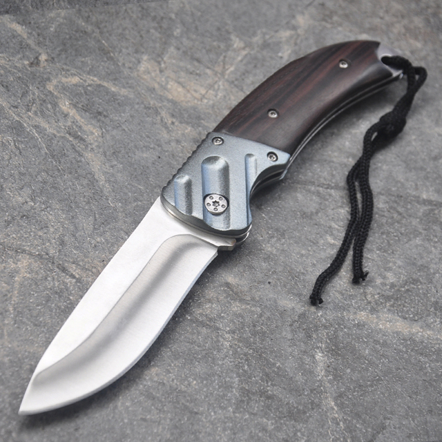 New Folding Knife 7Cr17Mov Blade Wood Handle 15cm Outdoor Survival Camping Mini Pocket Knife Wood Handle Fishing EDC knives 6