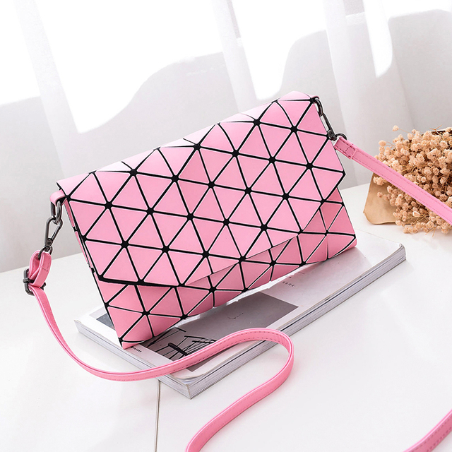 Solid Plaid Geometric Handbag