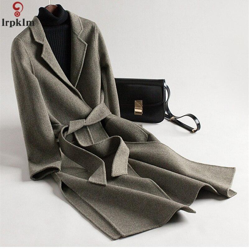Delle donne Doppio Cappotto di Cachemire 2018 Lungo Inverno Cappotti di Lana Femminile Elegante di Lana Giacca Signore Cintura Trench e Impermeabili Cappotto LZ884