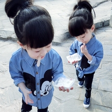 Girl's Character Shirt Jacket 2016 Spring and Autumn 1-234 Year Old Baby Shirt Baby Girl Casual Long Sleeve Shirt In Summer