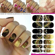 Rocooart Flower Series Nail Art Water Transfer Stickers Full Wraps Deer/Lavender Tips DIY
