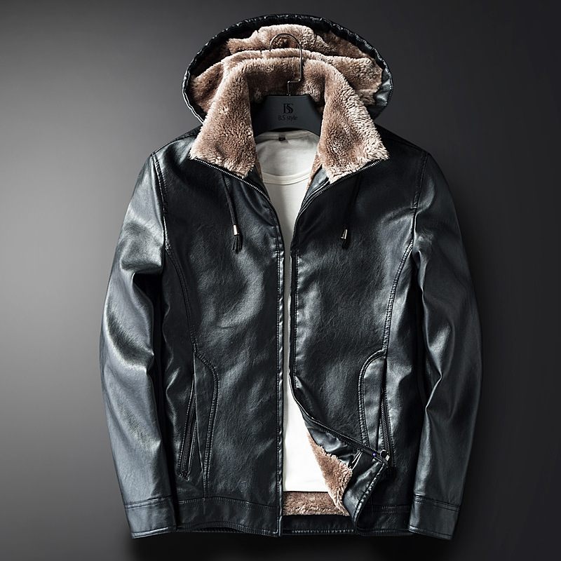 New Male PU Leather Jacket Fleece Lining Punk Stand Collar Jacket Men Hooded Zipper Male Coats Slim Fit Motorcycle Outwear - 5