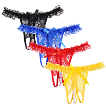 4 Piece/lot Women Underwear Lace Open Back Crotch Sexy Panties Beading Cute Embroidery Women Tanga G-String Lingerie