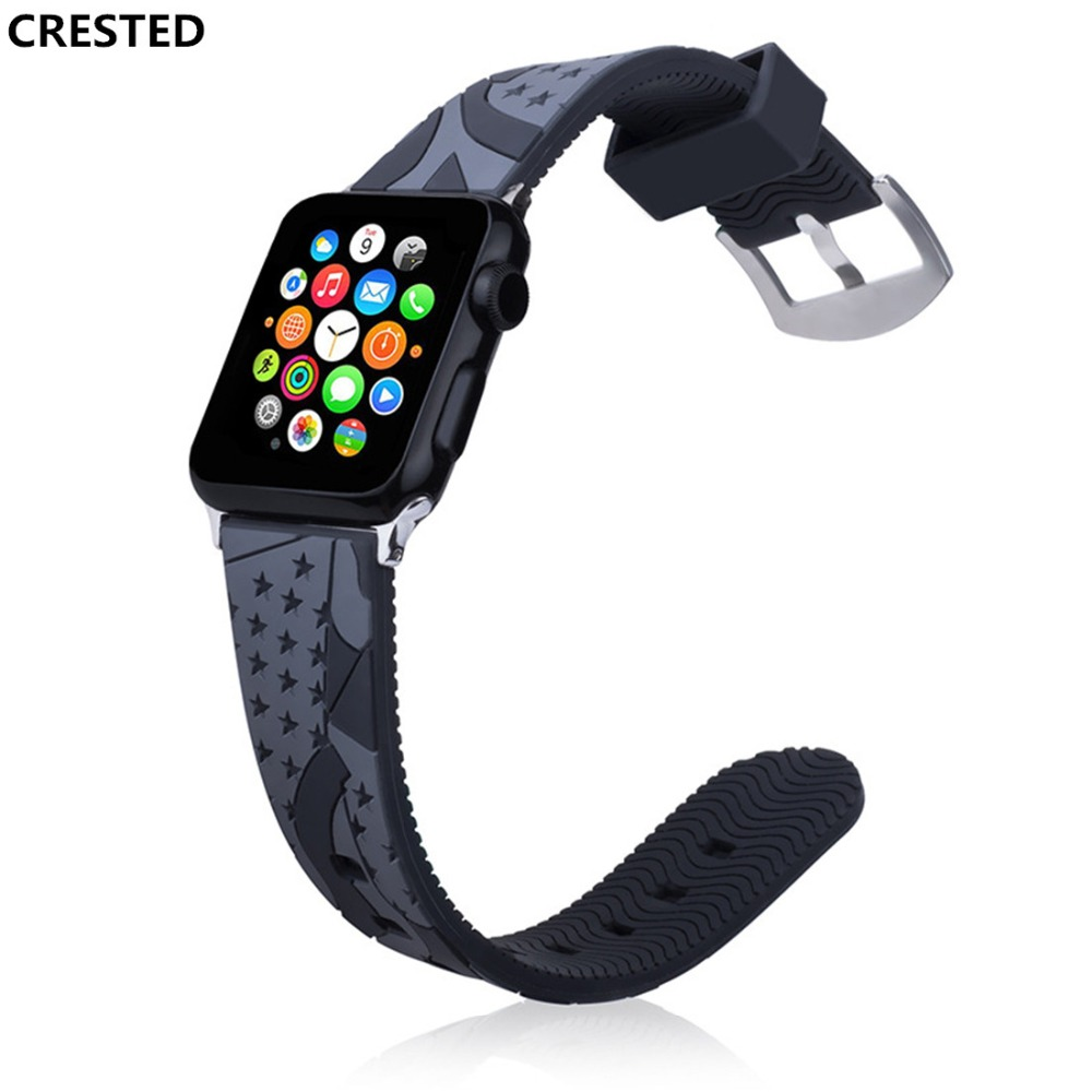CRESTED Silicone Sport strap For Apple Watch 4 band 44mm 40mm correa iwatch series 4 3 2 1 42mm/38mm rubber Wrist Bracelet belt аксессуар чехол для samsung galaxy a5 2017 innovation ракушка silicone silver 11067