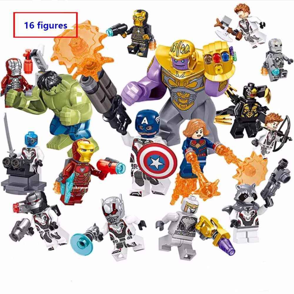 16pcs/set Super Heroes Marvel the Avengers endgame Mini Iron Man Thanos Falcon Hulk figures Building Blocks Compatible With Lego