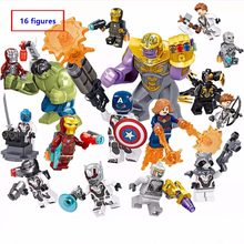 16 teile/satz Marvel Super Heroes the Avengers endgame Mini Eisen Mann Thanos Falcon Hulk figuren Bausteine Kompatibel Mit Lego(China)