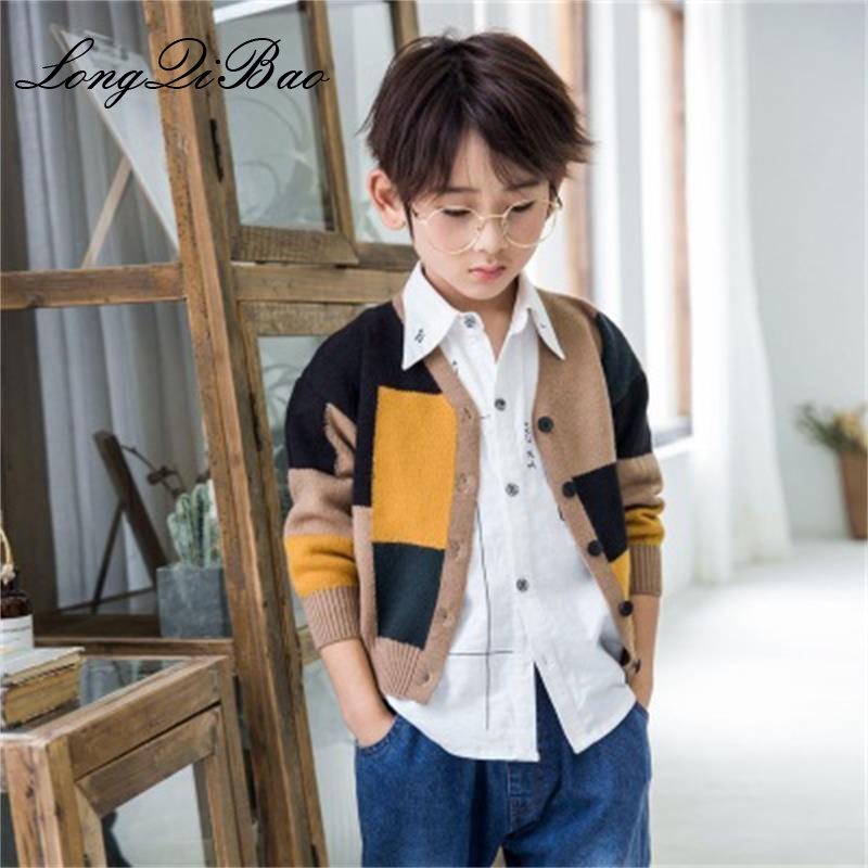 High Quality 2018 Autumn New Boy Fashion Cotton Color Matching Cardigan Sweater Korean Children's Long Sleeve Jacket 100% Guarantee