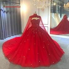 חלוק דה mariee 2019 אדום שמלת כלה עם קייפ חתונה מסיבת שמלת מלא ואגלי