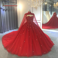 robe de mariee 2019 red wedding dress with cape wedding party dress full beading
