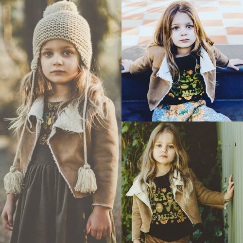 93c605d4133 2019 New Winter Khaki Wool Coat Kids Baby Girls Faux Fur Lambs Wool Coat  Child Warm Winter Outwear Children Jacket