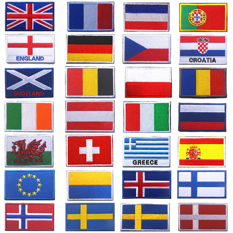 Embroidery Patches Italy EU Greece Spain France Portugal Germany UK Austria Ukraine Scotland England Ireland Czech European Flag(China)