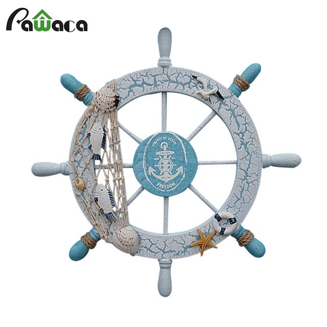 Mediterranean Style Wood Ship Wheel Wall Hanging Decoration Craft Ornamental Art Nautical Decor Vintage Home Decorative
