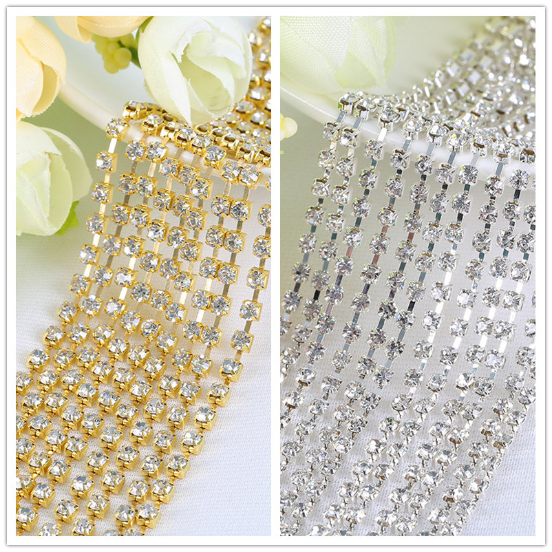 bb941cf6c4 TopStone Crystal Clear Silver Claw Sew On Rhinestone 2~8mm Chain Cup  Glitter Rhinestone Gold Claw For Wedding Dress