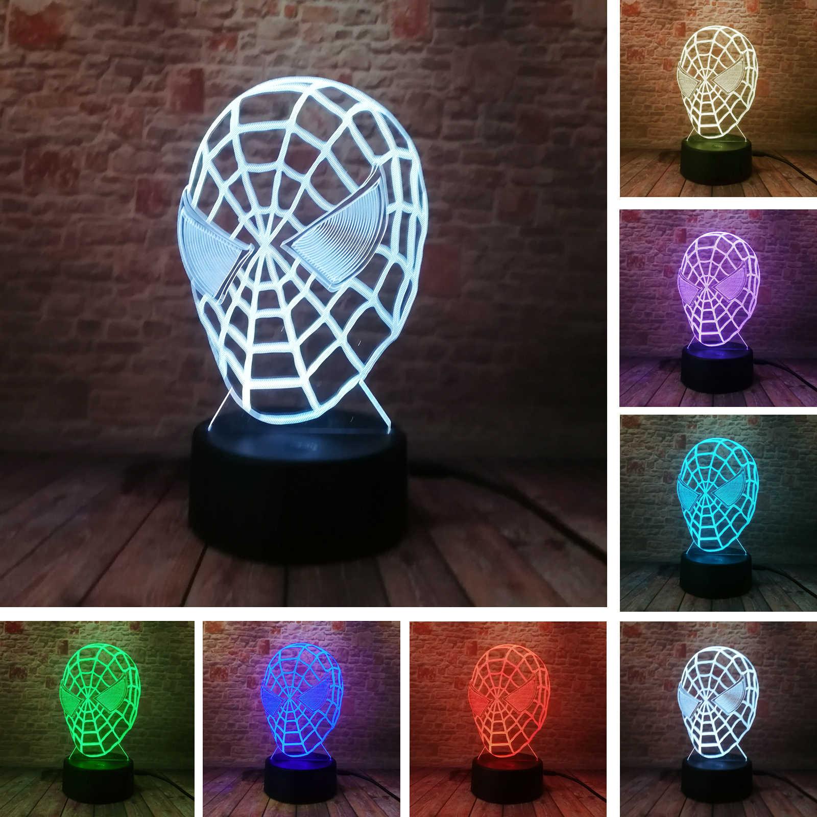 5 lámpara de figura 3D de Spiderman de superhéroes Led de 7 colores con gradiente para hombre y mujer, lámpara para niños, regalo creativo para dormir, Festival