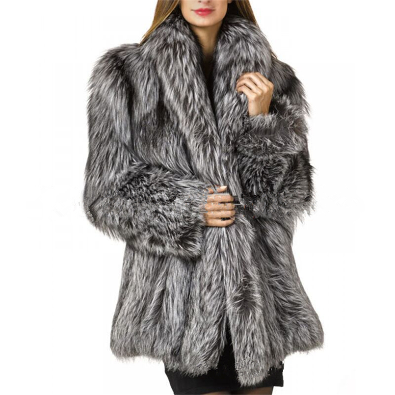 S 10XL 2018 New Autumn Winter Ladies Long Silver Gray White Fox Fur Coat Large Size Artificial Fur Jacket Pelliccia Donna