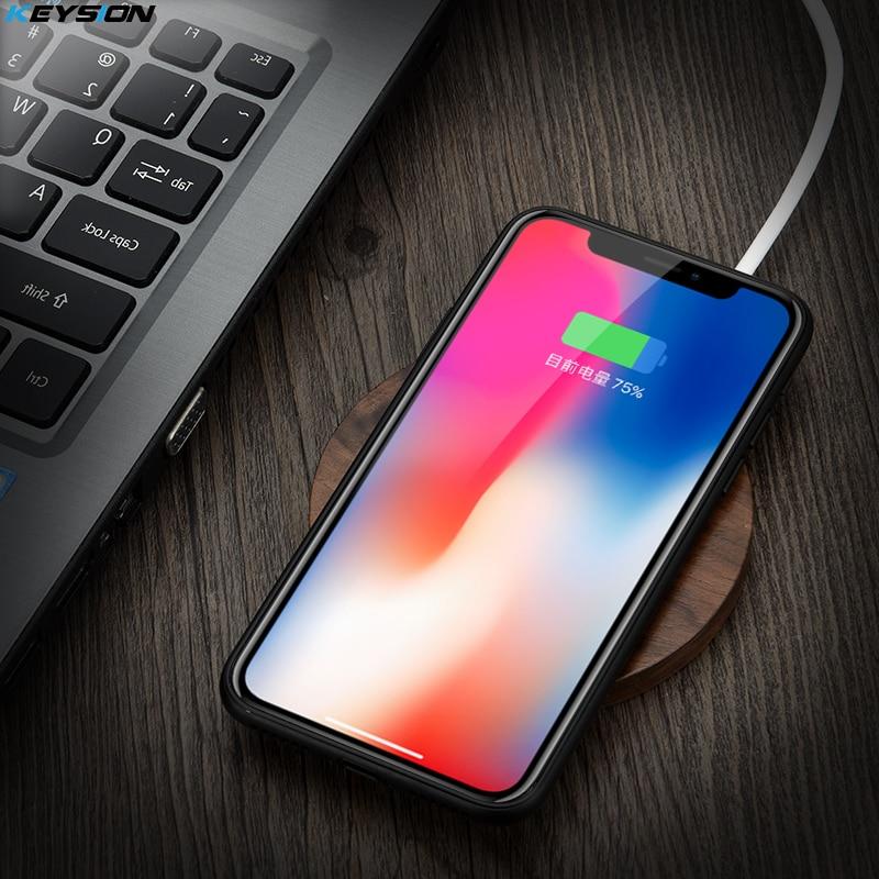 [Qi Wireless Charger 10 W] KEYSION Legno veloce Caricabatterie Wireless Pad di Ricarica per Samsung S9 S9 + S8 S7 Nota 8 7 per iPhone X 8 8 Plus