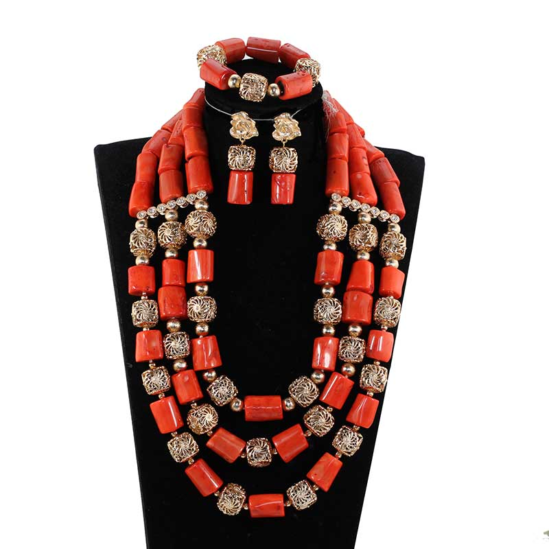 High Quality Big Coral Beads Costume Necklace Set Jewelry Sets Dubai Gold African Wedding Jewelry Set Coral Bride Gift PJW306High Quality Big Coral Beads Costume Necklace Set Jewelry Sets Dubai Gold African Wedding Jewelry Set Coral Bride Gift PJW306