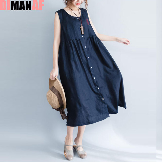 421d1911db4 DIMANAF Summer Style Dress Plus Size Women Linen Sundress Solid Sleeveless  Vest Cardigan Female Sexy Red