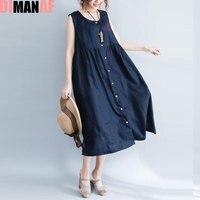DIMANAF Summer Style Dress Plus Size Women Linen Sundress Solid Sleeveless Vest Cardigan Female Sexy Red