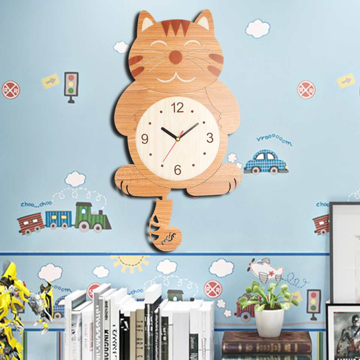 Wall Clock Wooden Cat Pattern Swinging Tail Pendulum Cartoon Clocks Battery Operated Room Home Decor Wood Hanging Wall Clocks