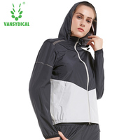 Vansydical Body Shapewear Women Sweat Jacket Running Women Windbreaker Waist Trainer Body Shaper Woman Sports Jacket Gym Wear