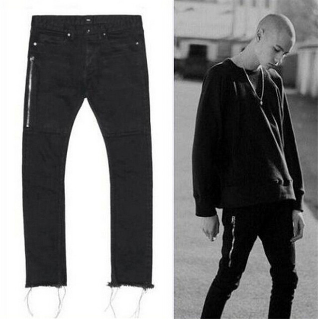 424 Four Two Four Washed Black Jeans Mens Punk Rock High-Street Pants Slim Fit Motocycle Biker Jeans Side Zippers Size 29-36