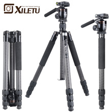 Xiletu L334C S44 Professional Stable Carbon Fiber Birding Tripod and Panoramic Hydraulic Handle Ball Head For Bird Watching
