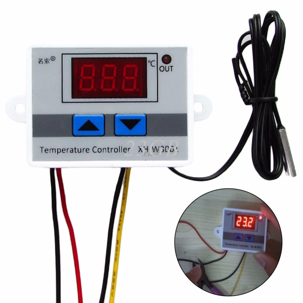 Digital LED Temperature Controller 220V 10A Thermostat Control Switch Probe J05_15 ac 250v 20a normal close 60c temperature control switch bimetal thermostat