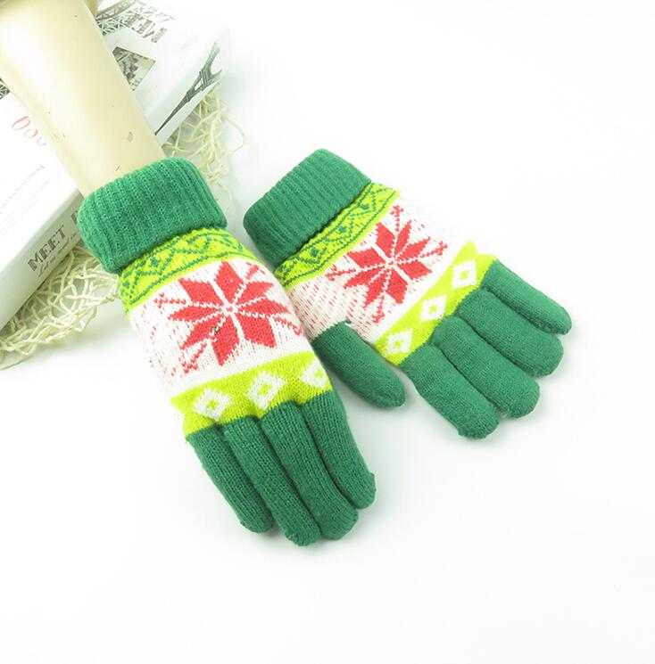 Women's Autumn Winter Imitation Cashmere Snow Knitted Glove Female Double Layer Winter Driving Glove R1260