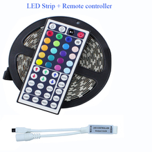 5050 RGB Led Strip 5M 60Led/M DC 12V Led String Strip Bar Neon Bombillas Led Lamp +44 keys mini Remote Controller living room