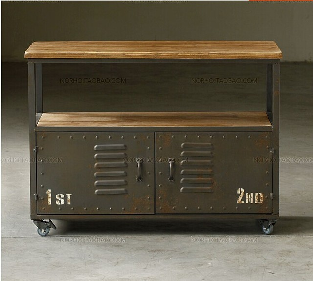 Amerikanischen Landlichen Retro Eisen Holz Loft Etagen Tv Schrank