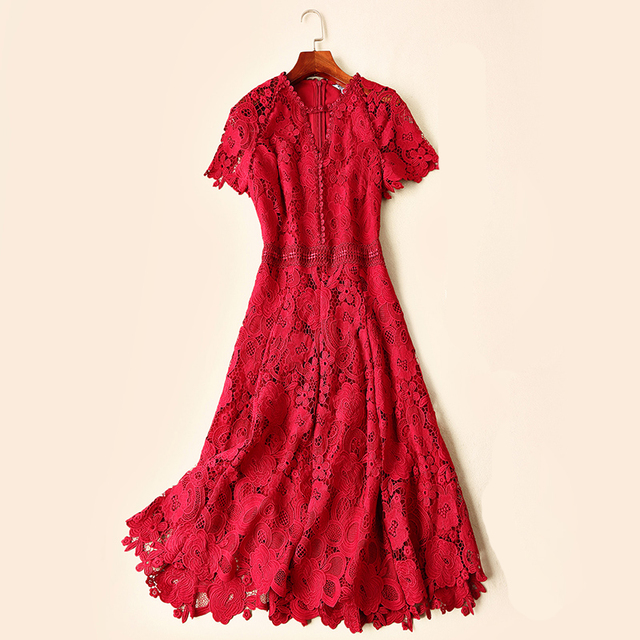 GoodliShowsi 2019 Summer Red and Black Princess Sexy Lady Dress A-line O-Neck Short Sleeve Lace Slim Woman Party Dresses