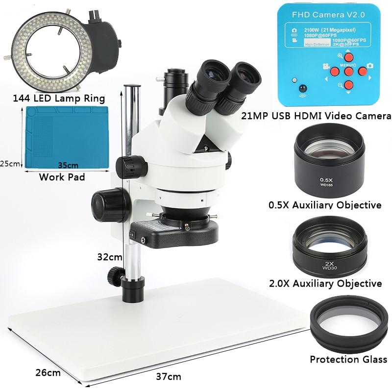 1080 p 21MP 2 k HDMI USB C Mount Video Macchina Fotografica 3.5X-90X simul-focale Continuare Microscopio Trinoculare strumenti di Riparazione del telefono di Saldatura PCB