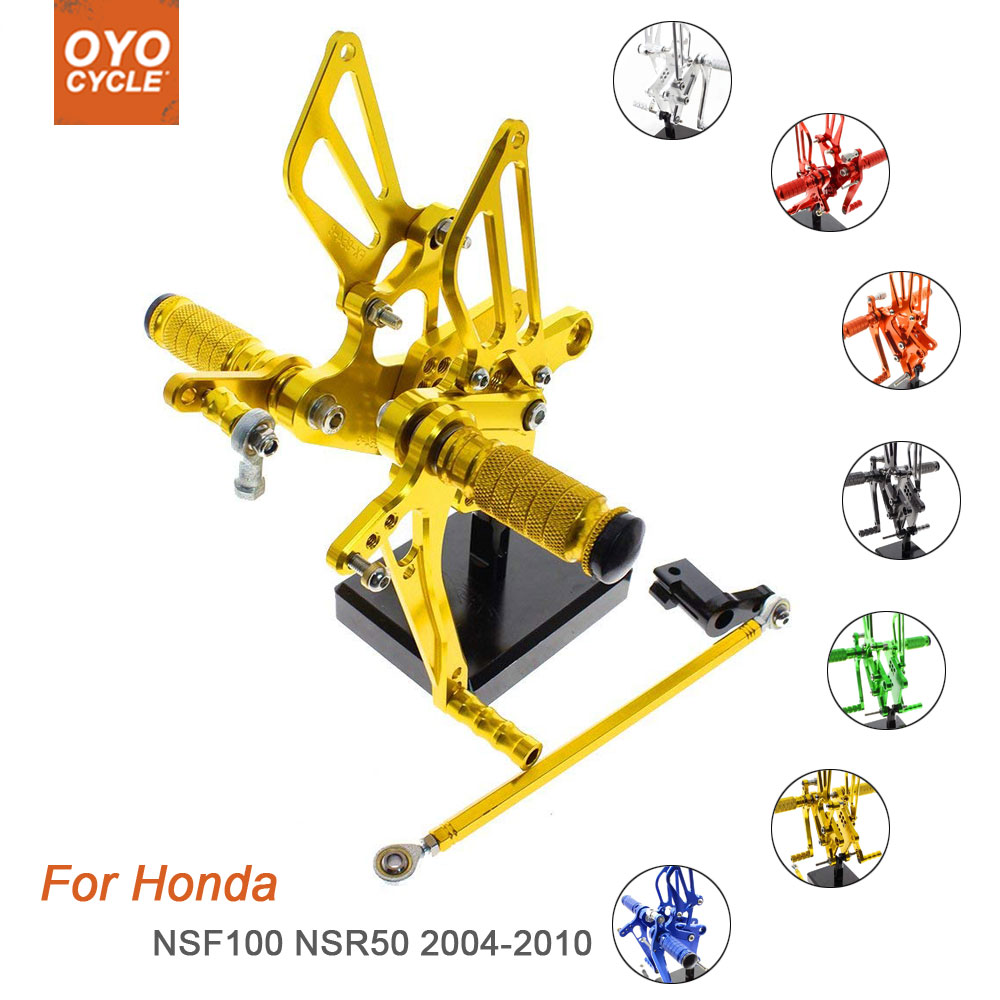 For Honda NSF100 NSR50 2004-2010 Motorcycle Rear Set Accessories CNC Adjustable Rearset Foot Pegs NSR50 Foot Rests Footpegs