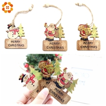 цена 3PCS DIY Wooden Pendants Ornaments Christmas Wood Craft Xmas Tree Ornaments For Home Decor Christmas Party Decorations Kids Gift в интернет-магазинах