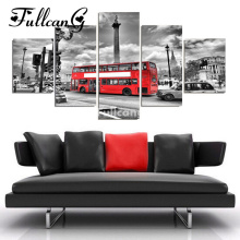 FULLCANG diy diamond painting 5 pcs london red bus full square embroidery pattern 5D mosaic cross stitch F219
