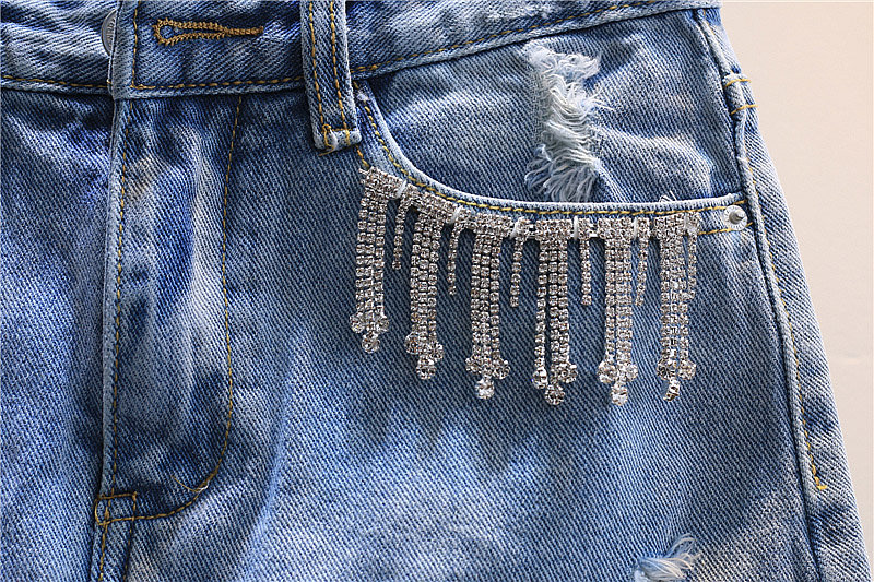 Lace mesh patchwork denim skirts women fashion Rhinestone blue plus size 2018 summer new arrivals-in Skirts from Women's Clothing    2