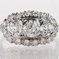 0.6CT anillo Para Mujer anillos de plata esterlina Anillo de Compromiso Corte Redondo Oro Blanco Plateó el anillo de bodas bague de Piedras Preciosas