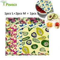 4pcs Eco Friendly Food Grade Beeswax Wrap Fresh Keeping Cloth Reusable Fruit Storage Washable Covers Lids Large Size