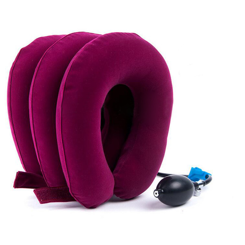 Portable Air Inflatable Neck Care Pillow Home Traction Soothing Therapy Support Device Travel High Quality Free Shipping I045 neck support nap pillow