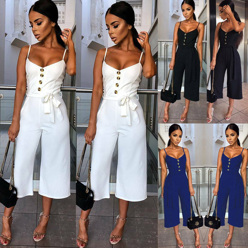 New Women's Jumpsuit Sleeveless Strapless Playsuit Casual Solid Party Romper Trousers New Jumpsuit
