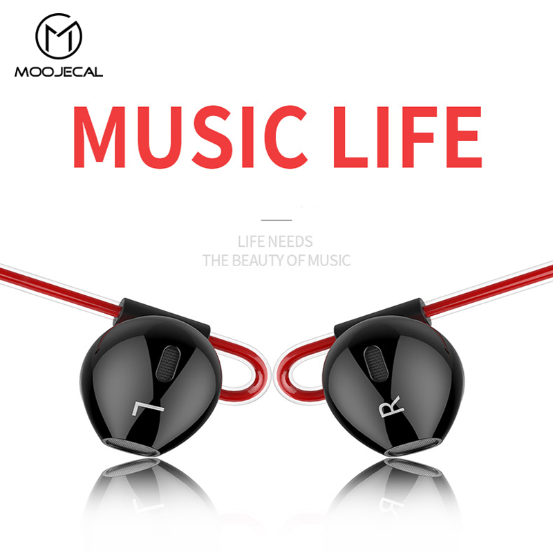 MOOJECAL 3.5mm Heavy Bass Wired Earphone In-Ear Earphones With Mic Universal Earbud Volume Control Stereo Sport Music Headset mifo r1 super bass wired earphone stereo music in ear earbuds 3 5mm microphone headset with mic for sport running earpiece xiomi