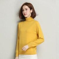 High Grade Pure Wool Women Sweater 2017 Autumn Winter Fashion All Match Soft Elastic Turtleneck Ladies