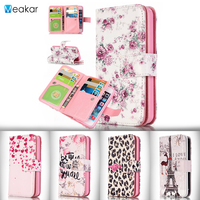 Nine Card Relief PU Leather IFor Iphone 5C Case For Iphone 5C Mobile Phone Case Holder